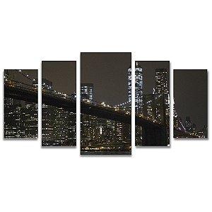 Tela Canvas para Sala 5 Peças Manhattan - Corporativo