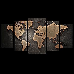 Tela Canvas para Sala 5 Peças Mapa Mundi Bronze - Corporativo
