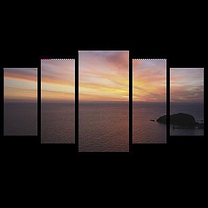 Tela Canvas para Sala 5 Peças Pôr do Sol Ocean - Corporativo