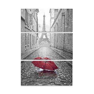 Tela Canvas para Sala 5 Peças Torre Eiffel e Guarda-Chuva Preto, Branco e Vermelho