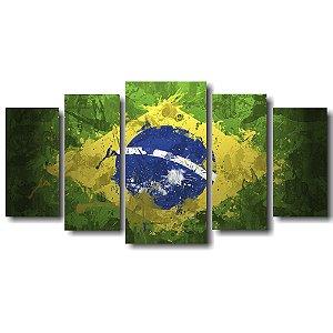 Tela Canvas para Sala 5 Peças Bandeira do Brasil Aquarela - Corporativo