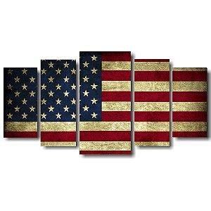 Tela Canvas para Sala 5 Peças Bandeira U.S.A - Corporativo