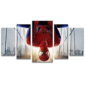 Tela Canvas para Sala 5 Peças Homem Aranha City - Filmes