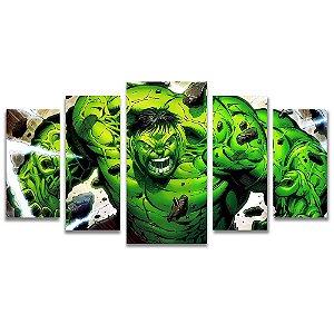 Tela Canvas para Sala 5 Peças Hulk Marvel - Filmes