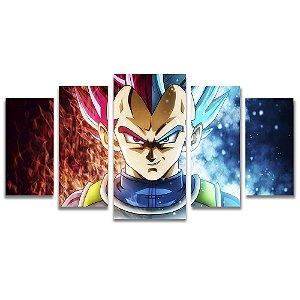 Tela Canvas para Sala e Quarto 5 Peças Vegeta Dragon Ball Z - Games