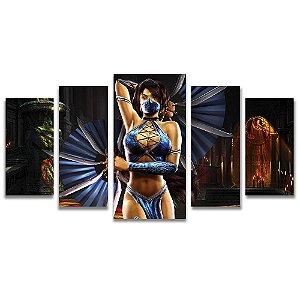 Tela Canvas para Sala e Quarto 5 Peças Kitana Mortal Kombat - Games