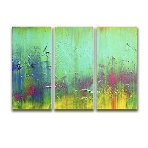 Telas Canvas para Sala 3 Peças Abstrato - Multicolor