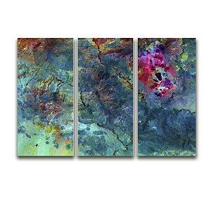 Telas Canvas para Sala 3 Peças Abstrato Corais - Multicolor