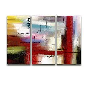 Tela Canvas para Sala 3 Peças Abstrato Linhas