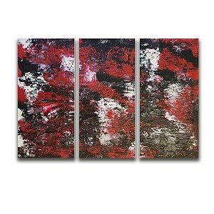 Tela Canvas para Sala 3 Peças Abstrato Relevo - Vermelho