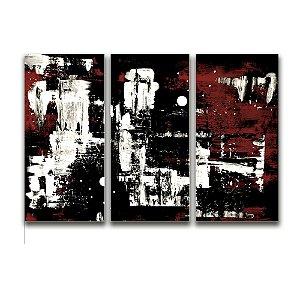 Tela Canvas para Sala 3 Peças Abstrato - Preto, Branco e Vermelho