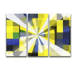 Tela Canvas para Sala 3 Peças Abstrato Geométrico - Amarelo