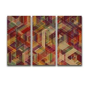 Tela Canvas para Sala 3 Peças Abstrato Losango - Multicolor