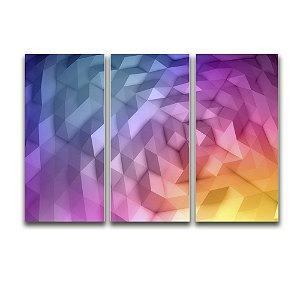 Tela Canvas para Sala 3 Peças Abstrato Triangular - Lilás