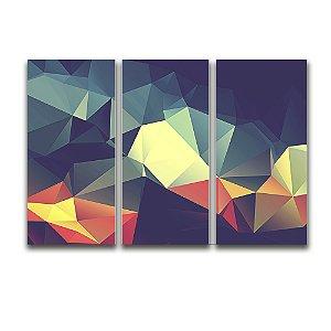 Tela Canvas para Sala 3 Peças Abstrato Triangular - Verde e Laranja