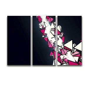 Tela Canvas para Sala 3 Peças Abstrato Triângulos - Branco e Vermelho