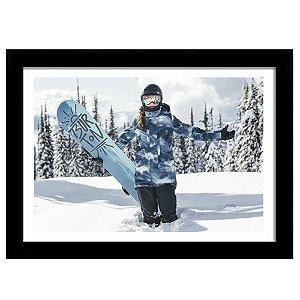 Quadro Decorativo para Sala de Estar em MDF Snowboard Girl