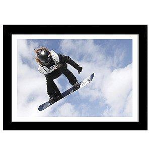 Quadro Decorativo para Sala de Estar em MDF Snowboard Girl Salto Aéreo