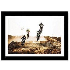 Quadro Decorativo para Sala de Estar em MDF Corrida de Motocross