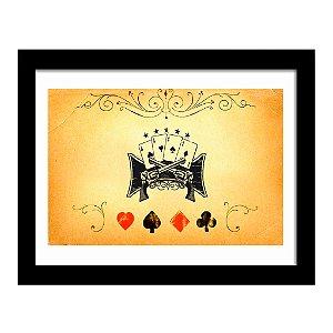 Quadro Decorativo para Sala de Estar em MDF Poker Vintage