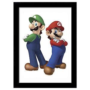 Quadro Decorativo para Quarto em MDF Luigi e Mario - Super Mario Bros