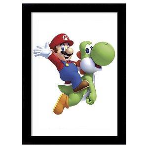 Quadro Decorativo para Quarto em MDF Mario e Yoshi - Super Mario Bros
