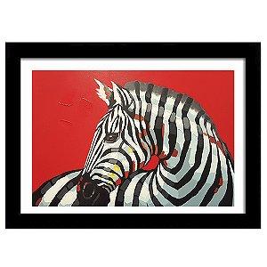 Quadro Decorativo para Sala em MDF Deu Zebra