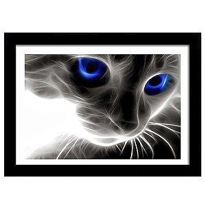 Quadro Decorativo para Sala em MDF Gato Olhos Azuis
