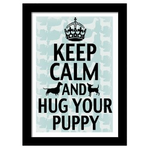 Quadro Decorativo para Sala em MDF Keep Calm Puppy