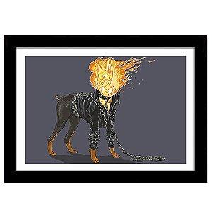 Quadro Decorativo para Sala em MDF Rottweiler Fantasma