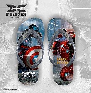 Chinelo Personalizado - Capitão América X Homem de Ferro  - Ref. 01400
