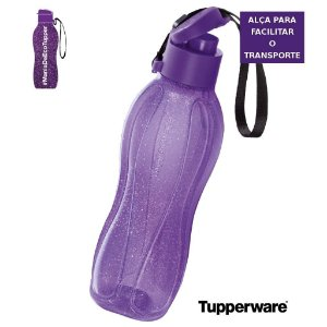 Tupperware Eco Tupper Garrafa 500ml Flip Plus -  Roxa com Gliter