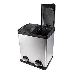 Lixeira em Inox Duo Coleta 30 Litros - Biovis