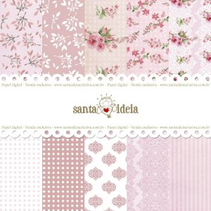KIT PAPEL DIGITAL FLORAL ROSA