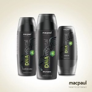 KIT SHAMPOO, CONDICIONADOR E LEAVE-IN DNA VEGETAL MACPAUL