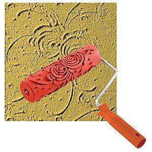 Rolo Textura ROMA Borracha Rosas 18cm c/ Cabo 8 0418