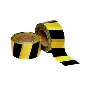 Fita De Sinalização Zebrada Amarela E Preta 180mt Plastcor