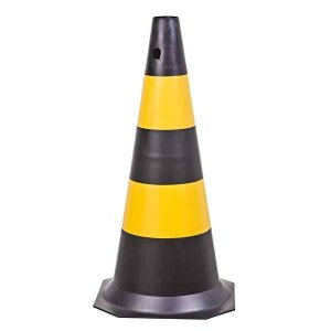 Cone de sinalização Polipropileno Preto e Amarelo 70cm