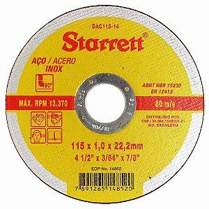 "Disco de corte Inox STARRETT 4.1/2"" X 3/64"" X 7/8pol"