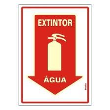 "Placa Sinalizacao ""EXTINTOR AGUA"" Fluorescente PVC 20x30"
