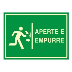 "Placa Sinalizacao ""APERTE\EMPURRE"" Fluorescente PVC 20x30"