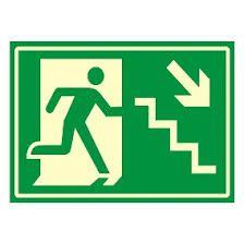 """Placa Sinalizacao """"Desca a Escada a Direita"""" Fluorescente PVC 20x30"""