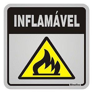 "Placa Sinalização ""INFLAMAVEL"" Alumínio 12X12cm"