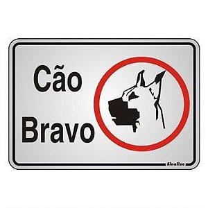 """Placa Sinalização """"CUIDADO CAO BRAVO"""" Alumínio 16X23cm"""