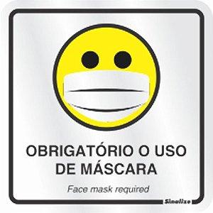 """Placa Sinalização Alumínio 15X15 """"OBRIGATÓRIO USO DE MASCARA"""" 120BD"""