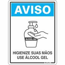 """Placa Sinalização Poliest. 15X20 """"USE ALCOOL EM GEL"""" COV02"""