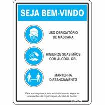 """Placa Sinalização Poliest. 20X30 """"SEJA BEM VINDO ORIENTACOES OMS"""" COV03"""
