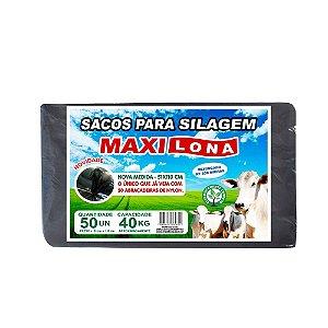 Saco p/ Silagem MAXILONA Preto 51X110 Cap. 40kg 50 SACOS
