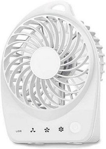 Mini Ventilador Portatil Bateria 3 Veloc. Super Potente USB Branco