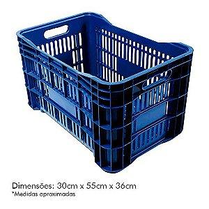 Caixa Plástica p/ Mercado 52lt Azul PLASTAND